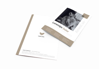 Corporate Brochure Layout with Brown Accents