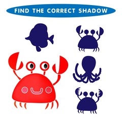 Red Crab Find the correct shadow kids educational puzzle game. The Theme Of Mermaids vector illustration