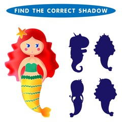 Mermaid Undine Find the correct shadow kids educational puzzle game. Vector illustration