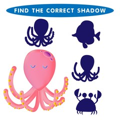 Octopus Devilfish Find the correct shadow kids educational puzzle game. The Theme Of Mermaids vector illustration