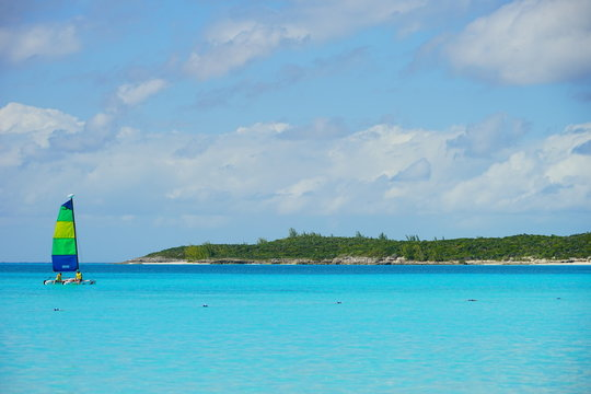 The beautiful Half Moon Bay island in Bahama and Caribbean sea ocean