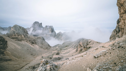 The beautiful cliffs of the Dolomites in Italy - Passo Principe, Passo Antermoia, Dolomiti