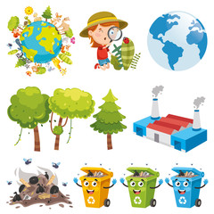 Vector Illustration Of Environment Elements