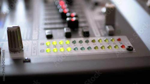 led indicator level signal on the sound mixing console led light\