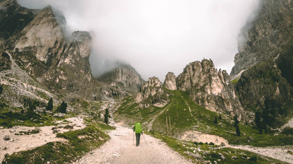 Mountaineer hiking the Dolomites