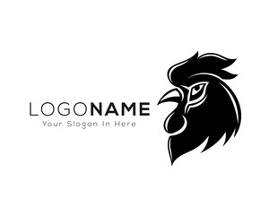 head rooster black and white template logo design inspiration