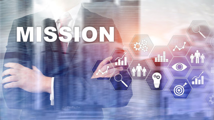 Mission business concept. Finacial success chart concept on virtual screen. Abstract business background.