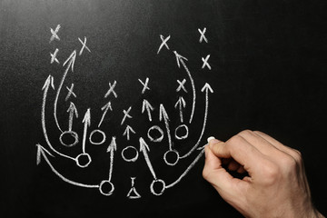Man drawing football game scheme on chalkboard, top view