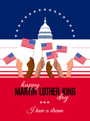Happy Martin Luther King Day placard, poster or greeting card. Vector illustration for MLK day