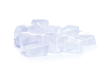 Ice cubes on white background. Frozen liquid