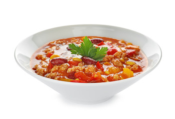 Canvas Prints Hot chili peppers Bowl with tasty chili con carne on white background