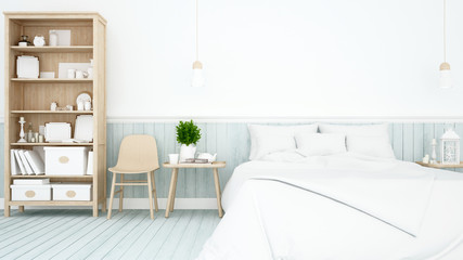 Bedroom and living area on light blue wood decorate in Apartment or home - Interior simple Design for artwork - 3D Rendering
