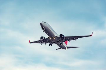 Landing of the passenger plane at sunset time