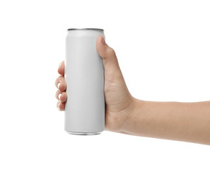 Woman holding aluminum can with beverage on white background, closeup. Mockup for design