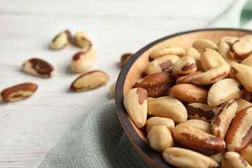 Bowl with tasty Brazil nuts on table, closeup. Space for text
