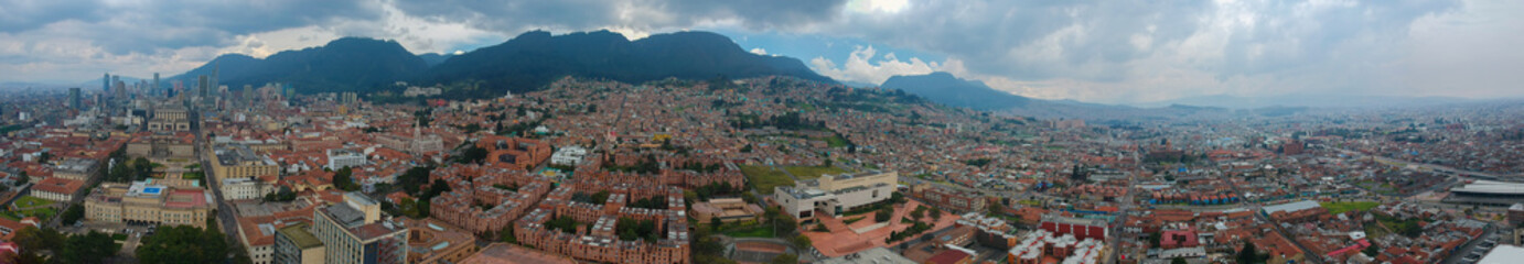 Panoramic view of the city of Bogota, Colombia. Aerial wide view