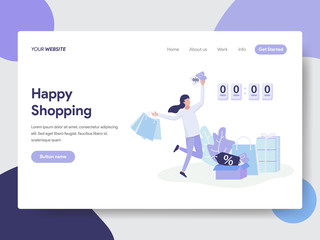 Landing page template of Flash Sale and Shopping Concept. Modern flat design concept of web page design for website and mobile website.Vector illustration