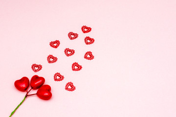 symbols of Valentine's day-hearts, love. background. flat low