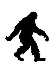 gehender laufender seitlich bigfoot silhouette comic yeti monster cartoon affe groß fabeltier schnee weiß menschenaffe lustig riese berge winter clipart design