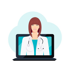 Doctor online vector concept in flat style
