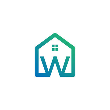 letter w architect, home, construction creative logo template