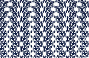 Japanese traditional geometric pattern with Sakura vector background navy blue