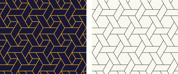 Seamless Hexagon pattern in linear style, vector