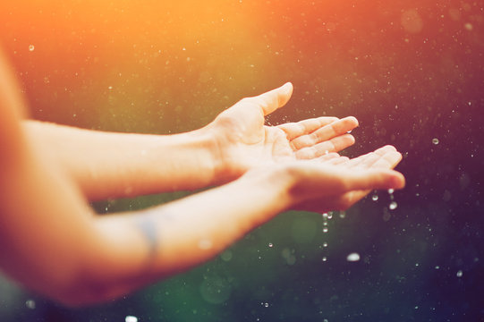 hand catching rain drops on blurred background. Woman hands praying for blessing from god on sunset