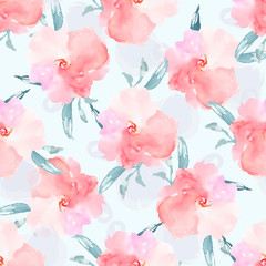 Pink Seamless Floral Pattern, Watercolor Flower Pattern Background