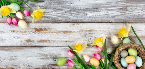 Springtime tulips and daffodils with colorful eggs on rustic wooden boards for Easter holiday background