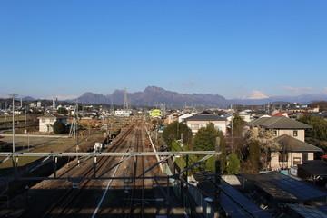 磯部駅から望む妙義山