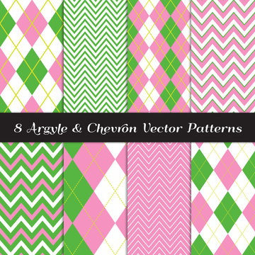Golf Green and Pink Argyle and Chevron Seamless Vector Patterns. Girly Sport Fashion Fabric Prints. Preppy Style Backgrounds. Repeating Pattern Tile Swatches Included.