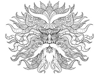 Mandala style illustration of head of Helios, the god and personification of the Sun in Greek mythology viewed from front on isolated background done in black and white.