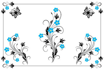 Wall Mural - Set vintage ornament with forget me not flowers,  frame and decorative divider for greeting card