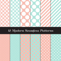 Pastel Mint and Coral Polka Dots, Gingham and Stripes Seamless Patterns. Pastel Color Backgrounds for Wedding or Bridal or Baby Girl Shower Invites. Repeating Pattern Tile Swatches Included.