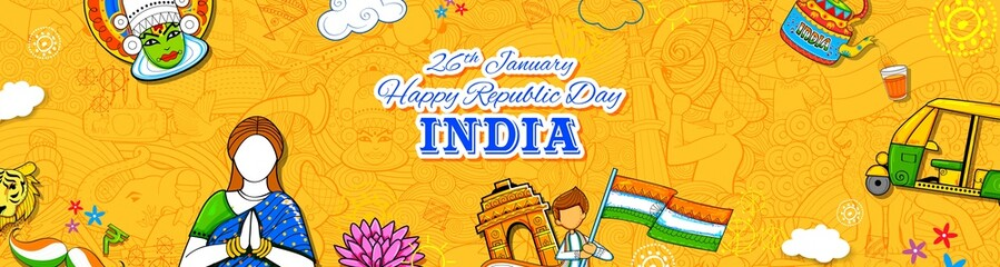 Wall Mural - Lady in Tricolor saree of Indian flag for 26th January Happy Republic Day of India
