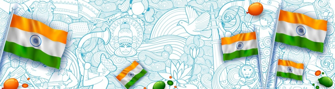 Abstract Tricolor banner with Indian flag for 26th January Happy Republic Day of India