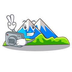 Photographer mountain scenery isolated from the mascot