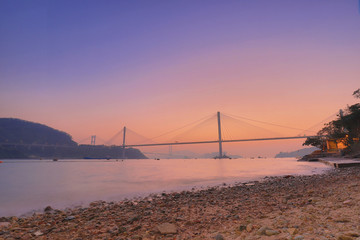 twilight time of Ting kau bridge at hk
