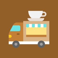 Coffee truck vector, Food truck flat style icon