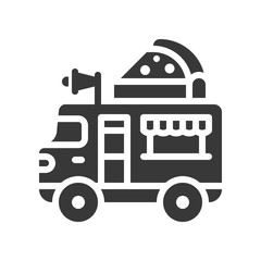 Pizza truck vector, Food truck solid style icon