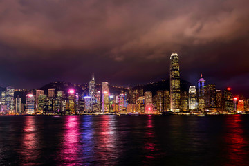a night view of Hong Kong skyline