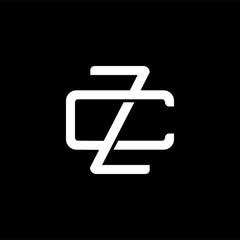 Fototapeta Initial letter C and Z, CZ, ZC, overlapping interlock monogram logo, white color on black background obraz