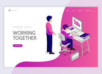 Isometric business people working together character vector design. For landing page, web banner, infographics and background template. no5