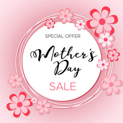 Happy Mother's day Sale! Special Offer. Vector lettering illustration with flowers on pink background