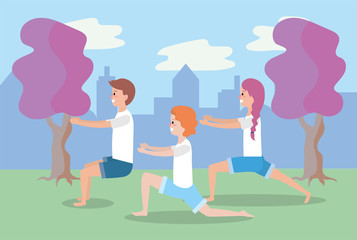 man and women training yoga balance pose