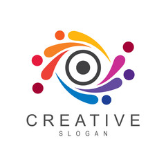 colorful eye logo design template