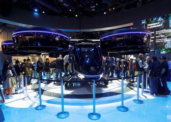 The Bell Nexus, a vertical take-off and landing (VTOL) aircraft is displayed during the 2019 CES in Las Vegas