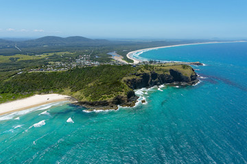 Aerial view over Crescent Head and surrounds on the Mid North Coast of New South Wales, Australia