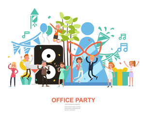 People character vector design. Office party concept. For background, banner, website and landing page. no2